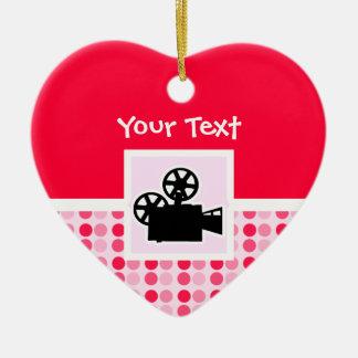 Cute Movie Camera Ceramic Heart Decoration