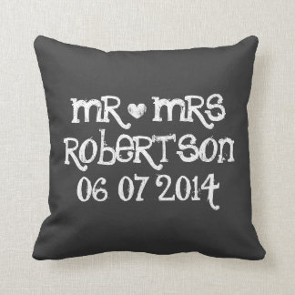 Cute Mr and Mrs chalkboard wedding throw pillows