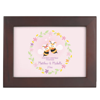 Cute Mr And Mrs Honey Bee Couple First Christmas Keepsake Box