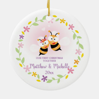 Cute Mr And Mrs Honey Bee First Christmas Keepsake Ceramic Ornament