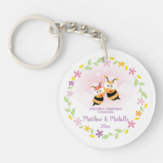 Cute Mr And Mrs Honey Bee First Christmas Keepsake Key Ring