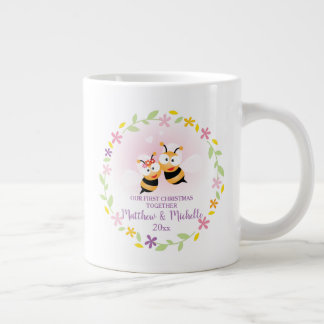 Cute Mr And Mrs Honey Bee First Christmas Keepsake Large Coffee Mug