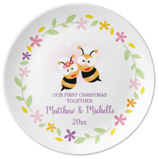 Cute Mr And Mrs Honey Bee First Christmas Keepsake Plate