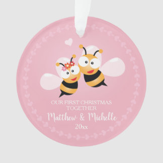 Cute Mr And Mrs Honey Bee First Christmas Together Ornament