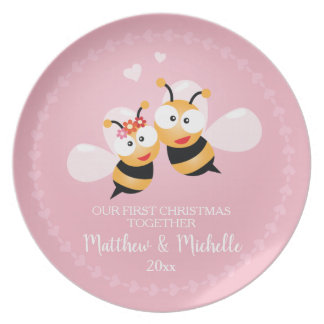 Cute Mr And Mrs Honey Bee First Christmas Together Plate
