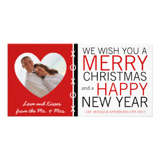 Cute Mr and Mrs Hugs and Kisses Photo Christmas Personalized Photo Card