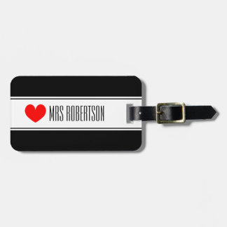 Cute Mr and Mrs travel luggage tags with red heart