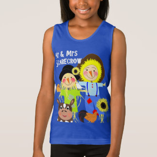 Cute Mr & Mrs Scarecrow Farm Animal Fiends Whimsy Singlet