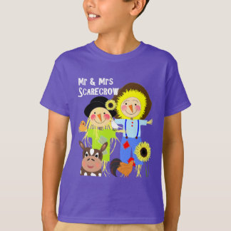 Cute Mr & Mrs Scarecrow Farm Animal Fiends Whimsy T-Shirt