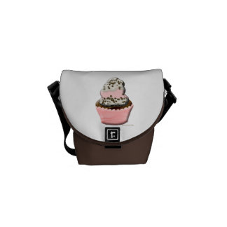Cute muffin cupcake design Illustration Messenger Bags