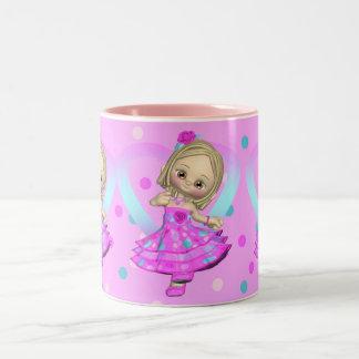 cute mug with little girl in polka dot dress