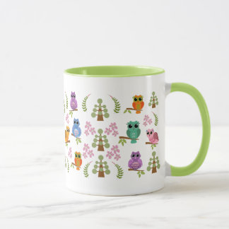 Cute mug with Owls, trees, flowers & leaves