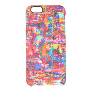 Cute multi colors abstract waves painting clear iPhone 6/6S case