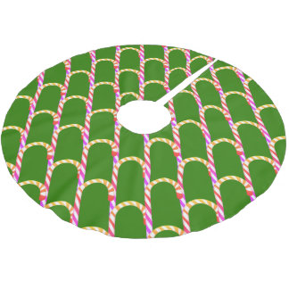 Cute Multicolored Candy Cane Pattern Tree Skirt