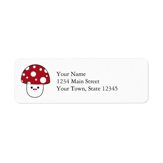 Cute Mushroom Fungi Return Address Label
