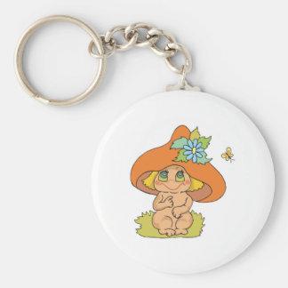 cute mushroom gnome elf basic round button key ring