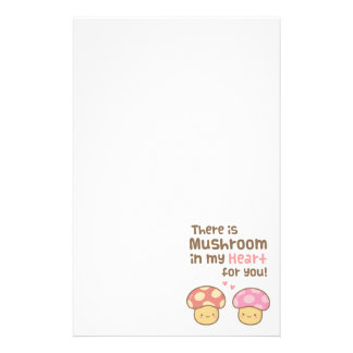 Cute Mushroom in my Heart For You Sweet Pun Stationery