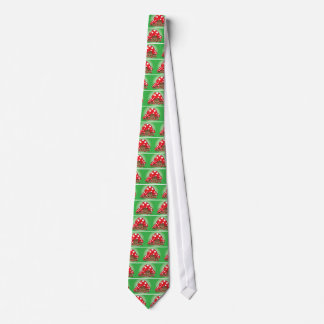 Cute Mushrooms on green background Tie