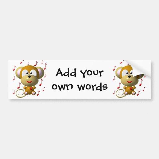 Cute musical monkey bumper sticker