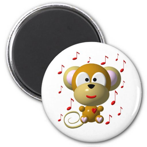 Cute musical monkey refrigerator magnets