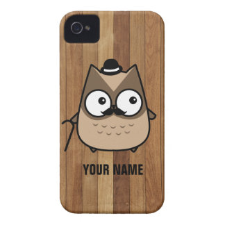 Cute mustache brown owl - Personalized iPhone 4 Covers