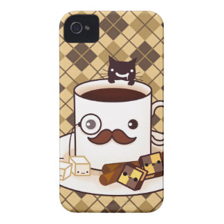 Cute mustache coffee cup on brown argyle iPhone 4 Case-Mate case