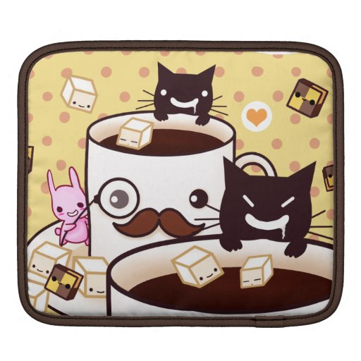 Cute mustache cup with kawaii animals and biscuits iPad sleeve
