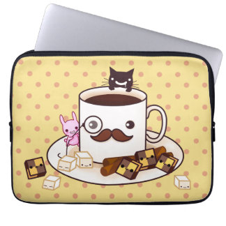 Cute mustache cup with kawaii animals and biscuits laptop sleeve
