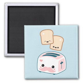 Cute Mustache Toaster Square Magnet