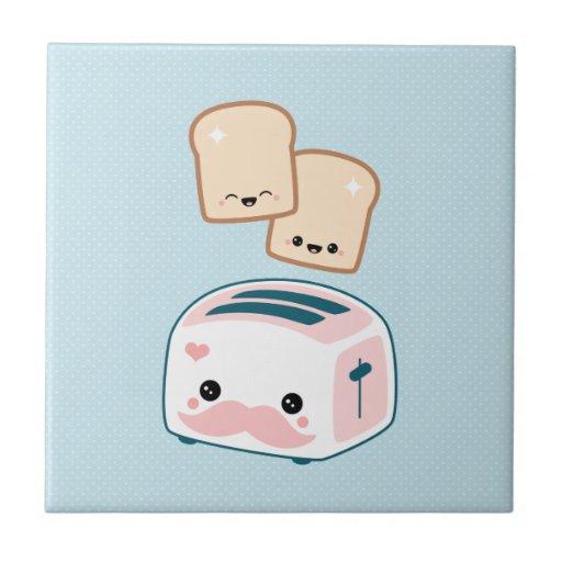 Cute Mustache Toaster Tile