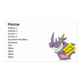 cute my birthday rhino party celebration cartoon pack of standard business cards