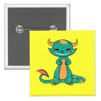Cute Mythical Dragon Smiling Buttons