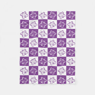 Cute 'n Curly White and Purple Butterflies Fleece Blanket