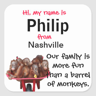 Cute Name Badges for Family Reunions Square Sticker