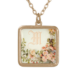 cute name initial square pendant necklace