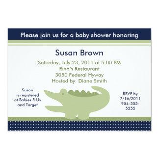 Cute Nantucket Alligator Baby Shower Invitation
