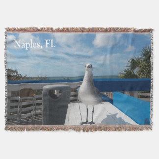 Cute Naples Beach Seagull Throw Blanket
