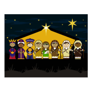 Cute Nativity Characters at Barn by Night Post Card