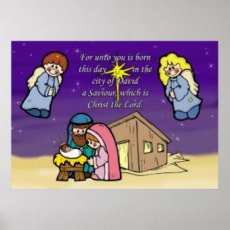 Cute Nativity Scene Christmas Poster
