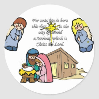 Cute Nativity Scene Round Sticker