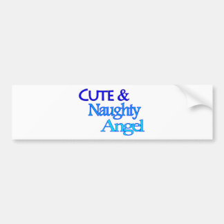 Cute Naughty Angel fun blue design Bumper Sticker