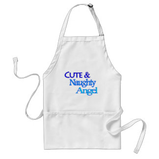 Cute Naughty Angel fun blue design Standard Apron