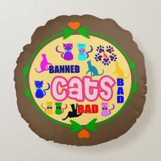 😻🐾↷❤Cute Naughty Cat Family Fabulous Round Throw Round Cushion