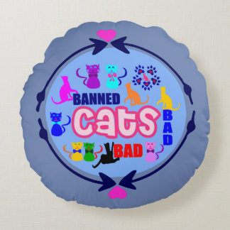 😻🐾↷❤Cute Naughty Cat Family Soft & Wrinkle-Free Round Cushion