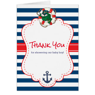 Cute Nautical Alligator Baby Shower Thank You Card