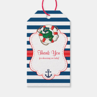 Cute Nautical Alligator Baby Shower Thank You Gift Tags