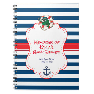 Cute Nautical Alligator Baby Shower Theme Notebook
