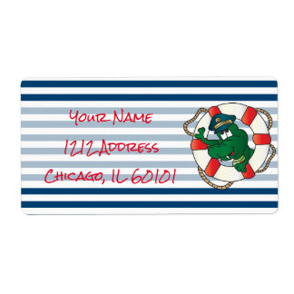 Cute Nautical Alligator Baby Shower Theme Shipping Label