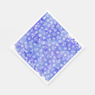 Cute Nautical Anchor Pattern on Blue Watercolor Disposable Napkin