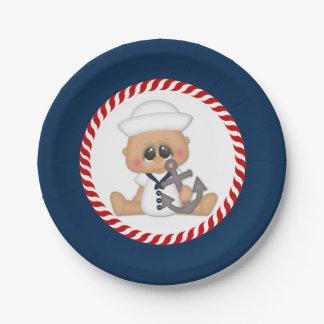 Cute Nautical Sailor Baby Boy Paper Plate